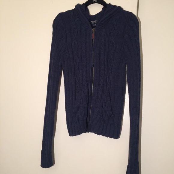 fcec824689 American Eagle Outfitters Sweaters - American Eagle navy blue hooded knit  sweater sz XL